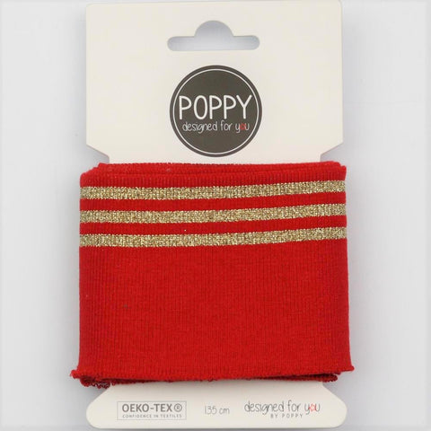 Red/ Gold Lurex Stripe Jersey Cuffing Pack