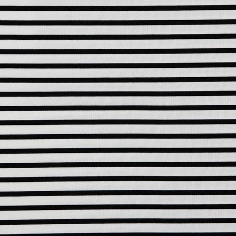 Classic Stripes Black/Off-White Double Knit Fabric