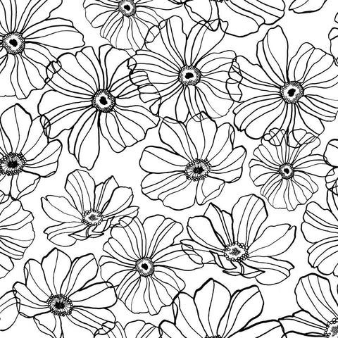 Monochrome Floral Stretch Cotton Sateen Fabric