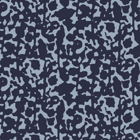 Navy Inkwell Printed Cotton Sateen Fabric