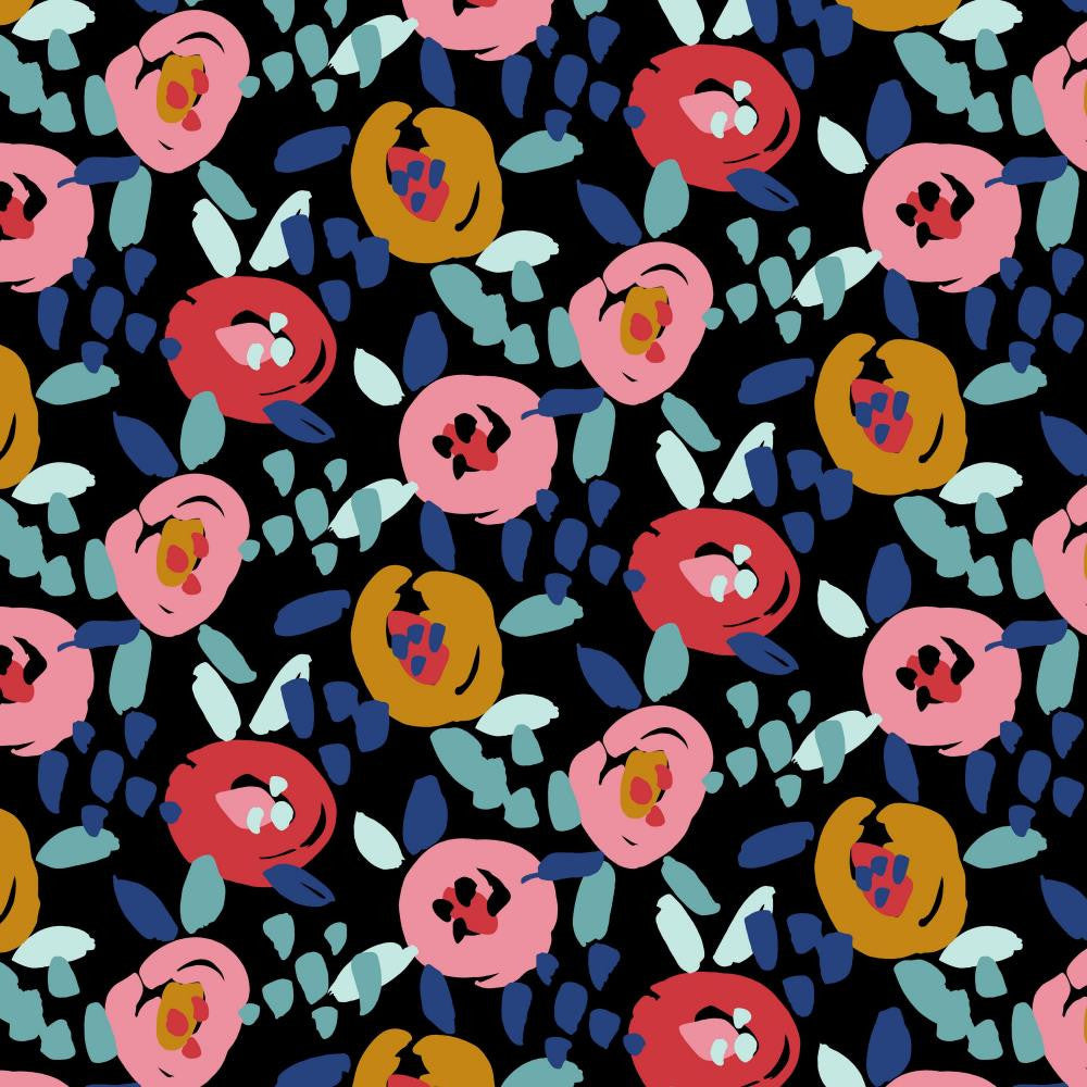 Painted Flower Black Printed French Terry Fabric