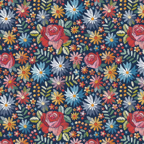 Embroidery Flowers Digital Cotton Jersey Fabric