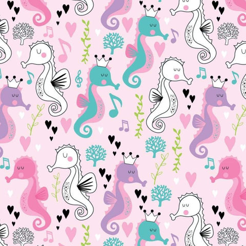 The Craft Cotton Co Sweet Little Seahorses - Seahorses Pink - 100% Cotton Fabric