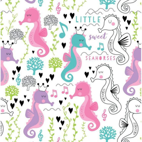The Craft Cotton Co Sweet Little Seahorses - Seahorses White - 100% Cotton Fabric