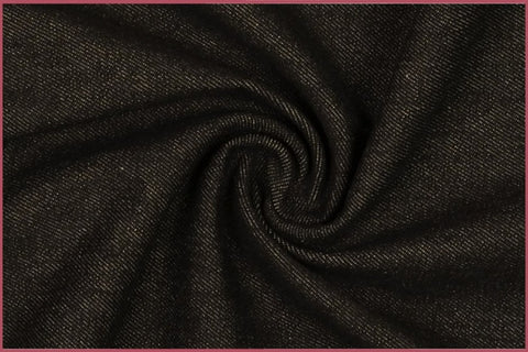 Washed Medium Weight Black Denim Fabric