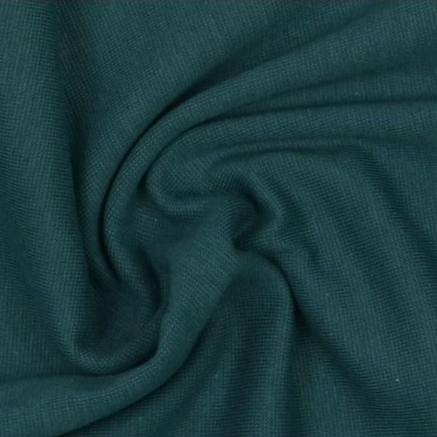 Dark Teal Plain Tubular Rib Jersey Cuffing Fabric