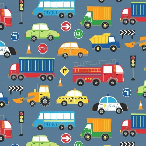 Vehicles Blue Printed Cotton Jersey Fabric