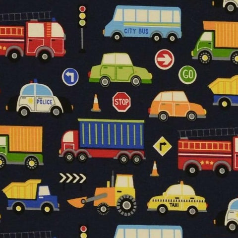 Vehicles Navy Printed Cotton Jersey Fabric