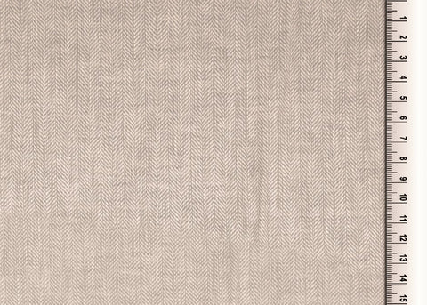 Grey Herringbone Linen Mix Fabric
