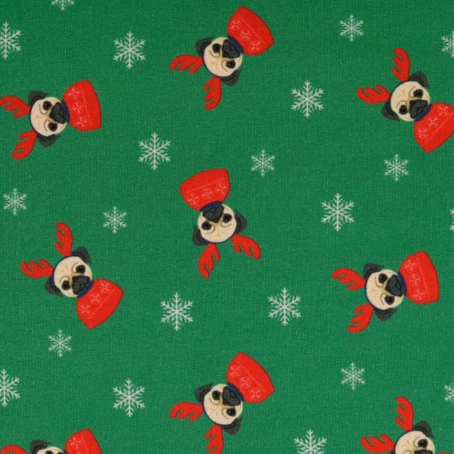 Merry Pugmas Green Christmas Brushed French Terry Fabric
