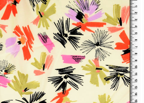Sketch Floral Printed Viscose Fabric