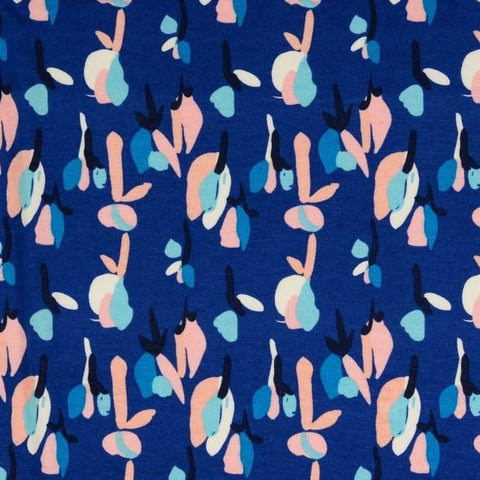 Blue Abstract Viscose Jersey Fabric