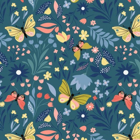 Butterfly Garden Teal Printed French Terry Fabric