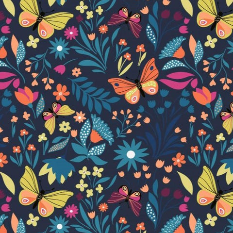 Butterfly Garden Navy Printed French Terry Fabric