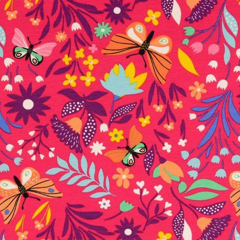 Butterfly Garden Pink Printed French Terry Fabric