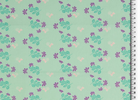 Mint Dragonfly Floral Organic 100% Cotton Fabric