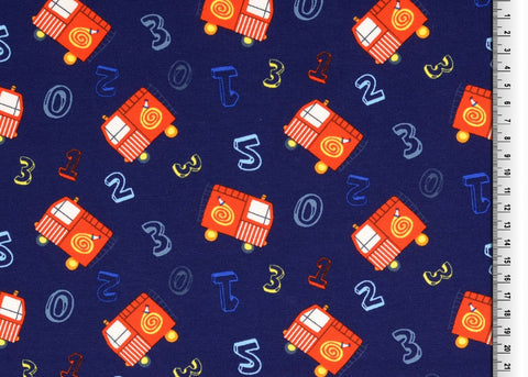 Fire Engines Navy Printed Cotton Jersey Fabric