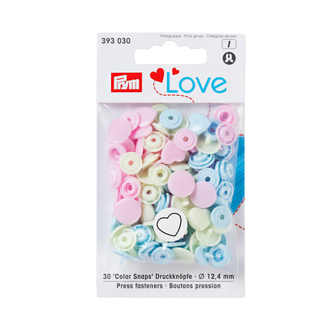 Prym Plastic Colour Snaps Press Fasteners - Pastel Hearts