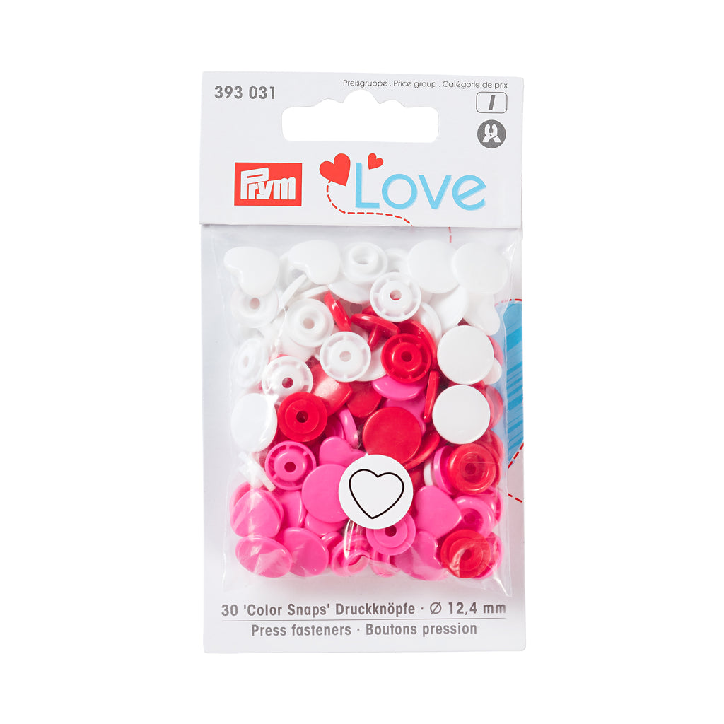 Prym Plastic Colour Snaps Press Fasteners - Pink Hearts