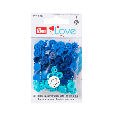 Prym Plastic Colour Snaps Press Fasteners - Blue Stars