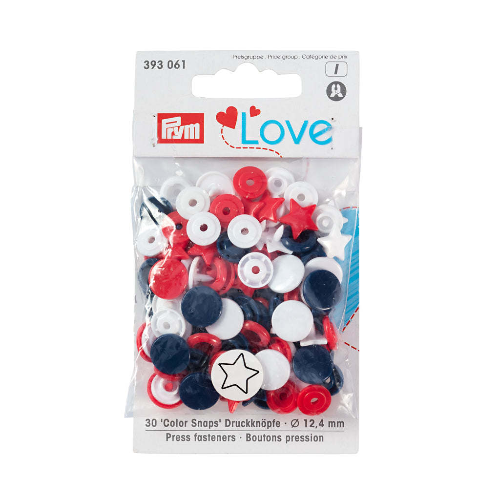 Prym Plastic Colour Snaps Press Fasteners - Red/White/Blue Stars