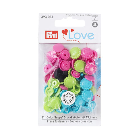 Prym Plastic Colour Snaps Press Fasteners - Turquoise/Green/Pink Flower