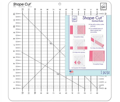 "June Tailor Shape Cut Slotted Ruler - 12"" Square"
