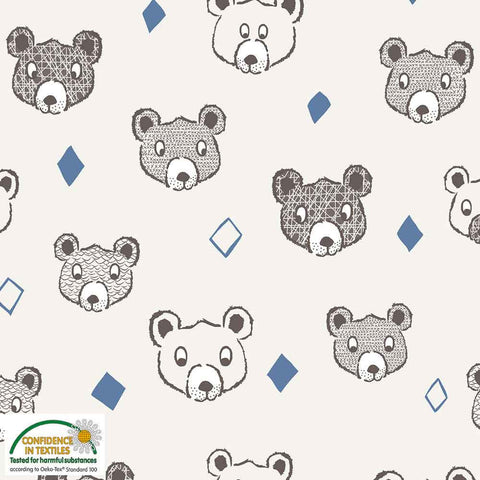 Stof of Denmark Bears Ivory Avalana Sweatshirting Fabric