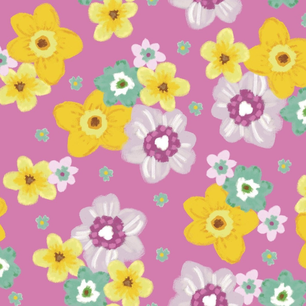 3 Wishes Novelty Easter - Spring Flowers - 100% Cotton Fabric