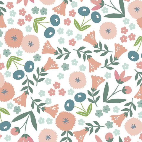 3 Wishes Spring Bunny - Spring Flowers - 100% Cotton Fabric