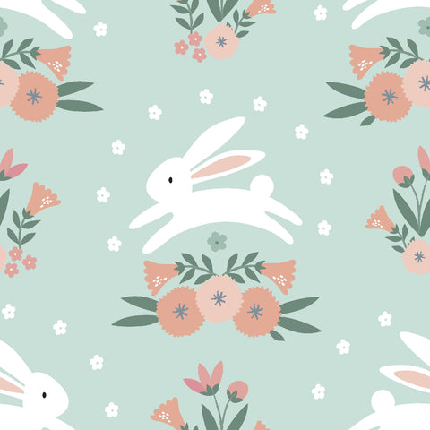 3 Wishes Spring Bunny - Bunny Hop - 100% Cotton Fabric