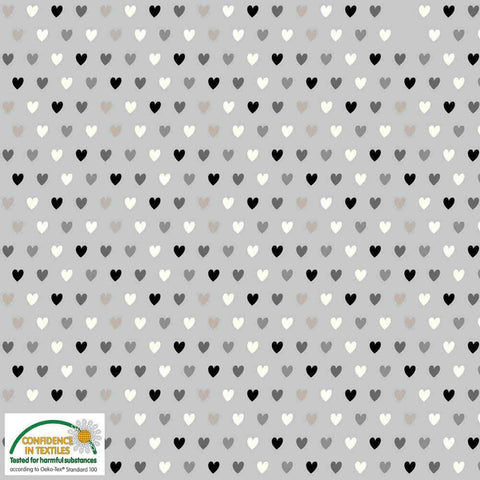 Stof of Denmark Grey Hearts Avalana Jersey Fabric