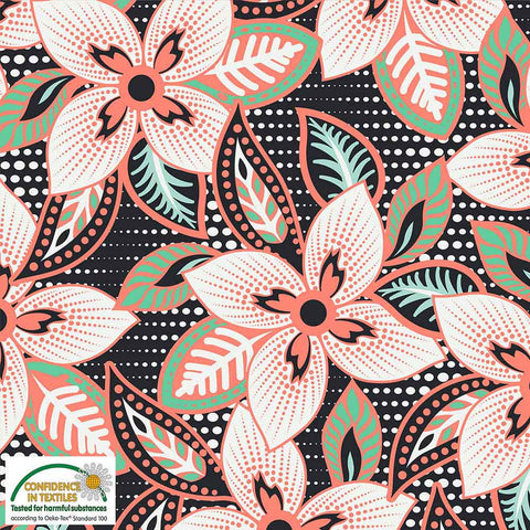Stof of Denmark Peach Floral Avalana Jersey Fabric