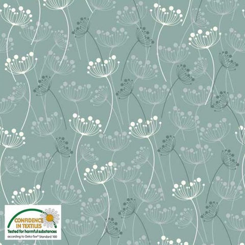 Stof of Denmark Dandelion Heads Teal Avalana Jersey Fabric