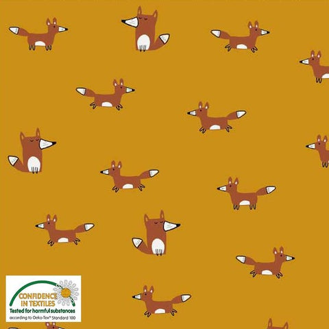Stof of Denmark Foxes Gold Avalana Jersey Fabric