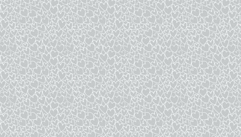 Makower Essentials - Heart Pewter White on Grey - 100% Cotton Fabric