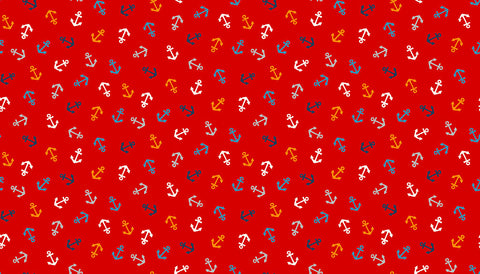 Makower Sail Away - Anchors Red - 100% Cotton Fabric