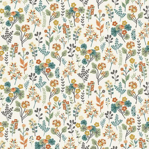 Makower Clara's Garden - Plants Cream - 100% Cotton Fabric