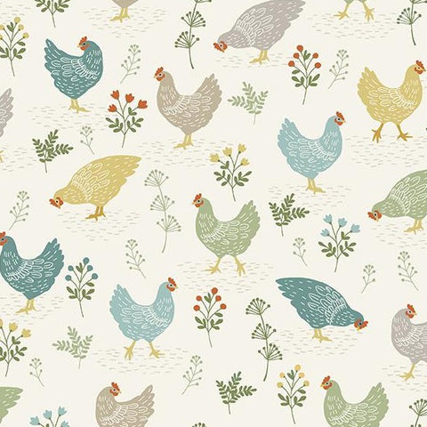 Makower Clara's Garden - Chickens Cream - 100% Cotton Fabric