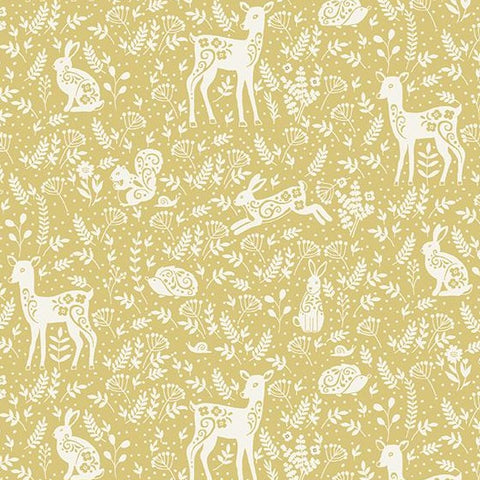 Makower Clara's Garden - Animals Yellow - 100% Cotton Fabric