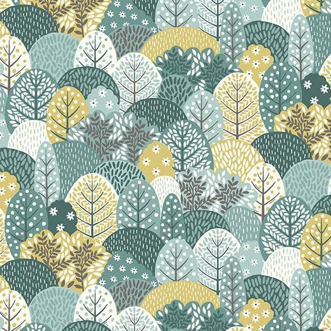 Makower Clara's Garden - Trees Blue - 100% Cotton Fabric