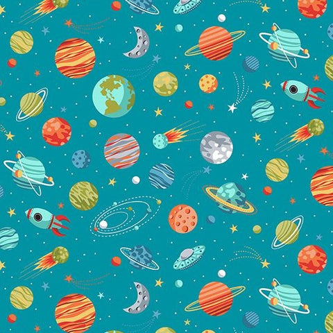 Makower Outer Space - Planets Blue - 100% Cotton Fabric