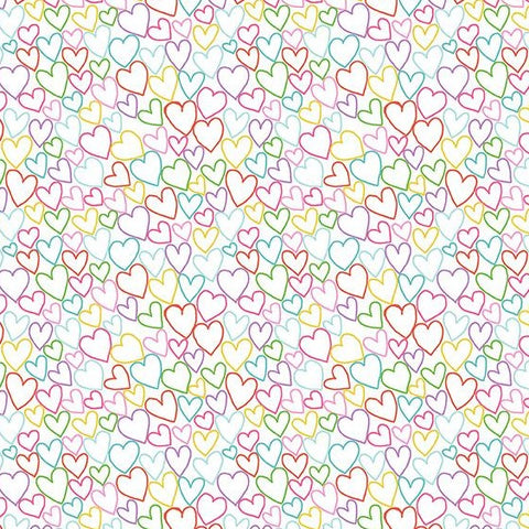 Makower Daydream - Hearts White - 100% Cotton Fabric