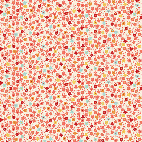 Makower Michiko - Blossom Cream (metallic) - 100% Cotton Fabric