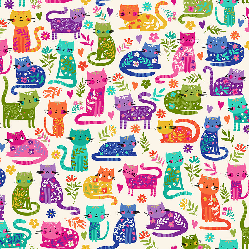 Makower Katie's Cats - Cats Allover Cream (metallic) - 100% Cotton Fabric