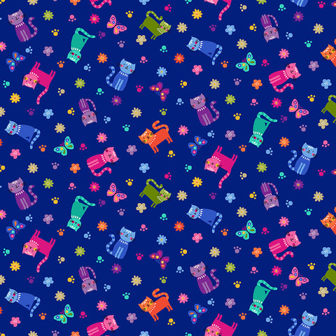 Makower Katie's Cats - Scattered Cats Blue (metallic) - 100% Cotton Fabric