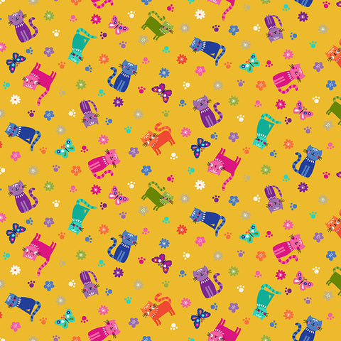 Makower Katie's Cats - Scattered Cats Yellow (metallic) - 100% Cotton Fabric
