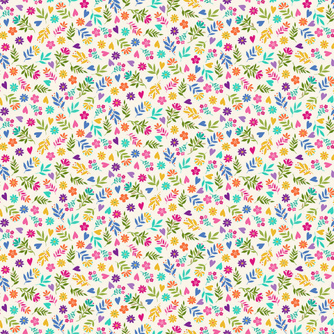 Makower Katie's Cats - Ditzy Flowers Cream (metallic) - 100% Cotton Fabric