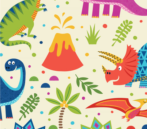 The Craft Cotton Co Dino World - Cream - 100% Cotton Fabric