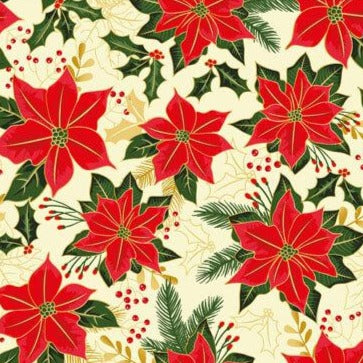 The Craft Cotton Co Traditional - Poinsettia Cream (metallic) - 100% Cotton Fabric